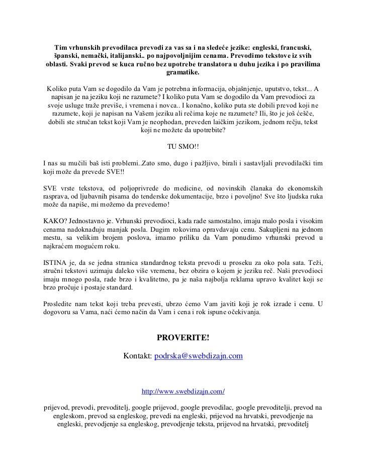 Prevod Na Engleski Srpski Prevodim