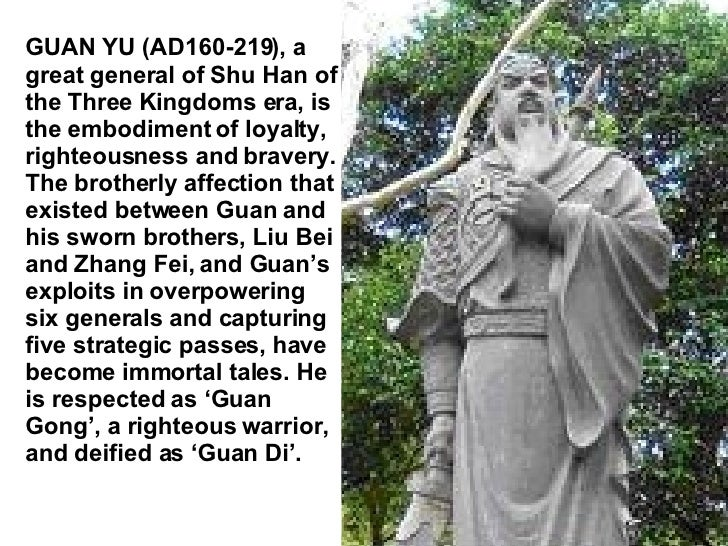 GUAN YU (AD160-219), a great general of Shu Han of the Three Kingdoms era, is the embodiment of loyalty, righteousness and...
