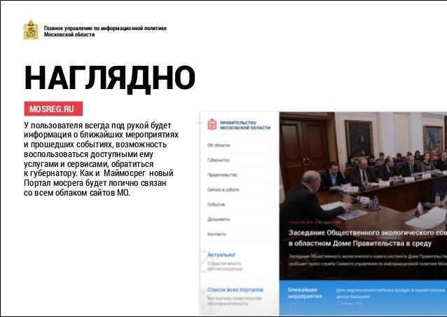 НАГЛЯДНО Главное управление по информационной политике Московской области MOSREG.RU У пользователя всегда под рукой будет ...