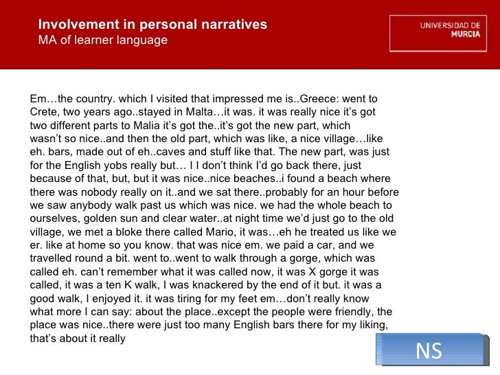 Involvement in personal narratives MA of learner language Involvement in personal narratives MA of learner language Em…the...