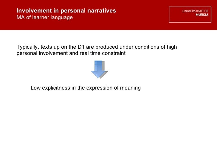 Involvement in personal narratives MA of learner language Involvement in personal narratives MA of learner language Typica...