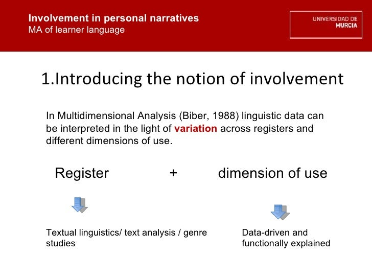 Involvement in personal narratives MA of learner language <ul><ul><li>Introducing the notion of involvement </li></ul></ul...