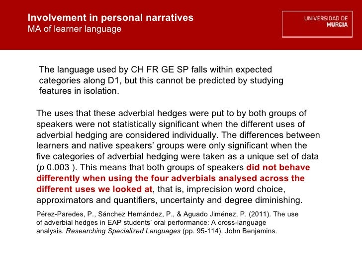 Involvement in personal narratives MA of learner language Involvement in personal narratives MA of learner language The us...