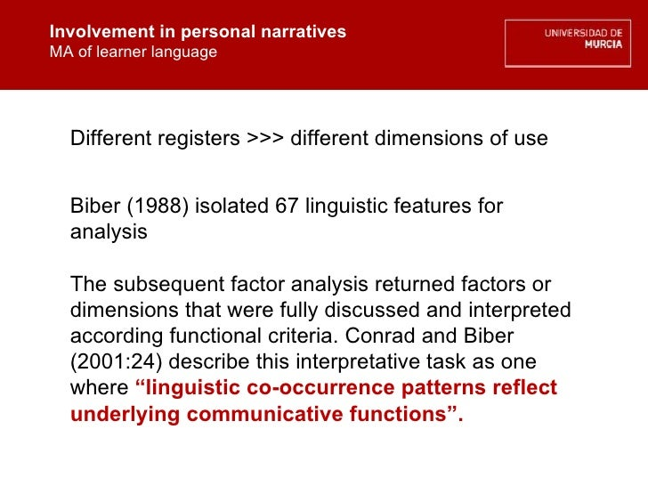 Involvement in personal narratives MA of learner language Involvement in personal narratives MA of learner language Differ...