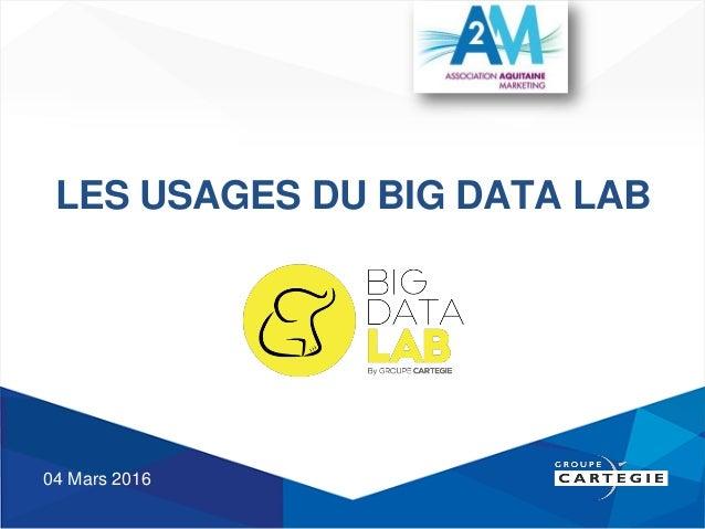 LES USAGES DU BIG DATA LAB 04 Mars 2016