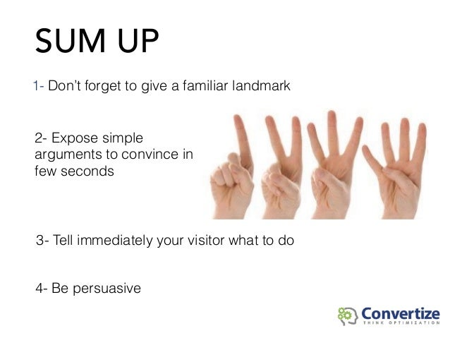 SUM UP 3- Tell immediately your visitor what to do 1- Don't forget to give a familiar landmark 2- Expose simple arguments ...