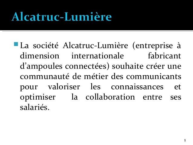  La  société Alcatruc-Lumière (entreprise à dimension internationale fabricant d'ampoules connectées) souhaite créer une ...