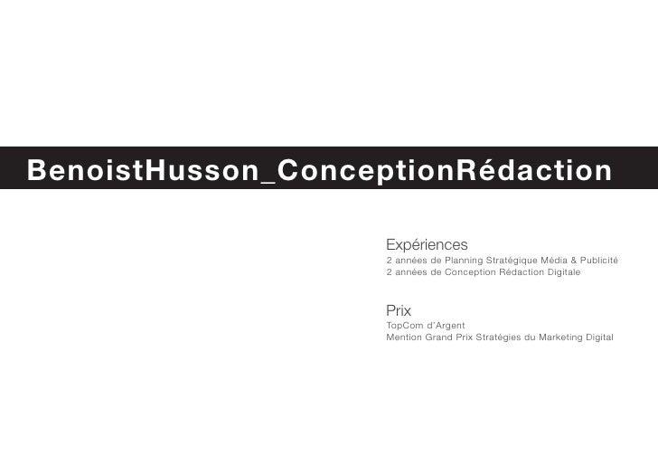 BenoistHusson_ConcepteurRédacteur Book                        Expériences                     2 années de Planning Stratég...