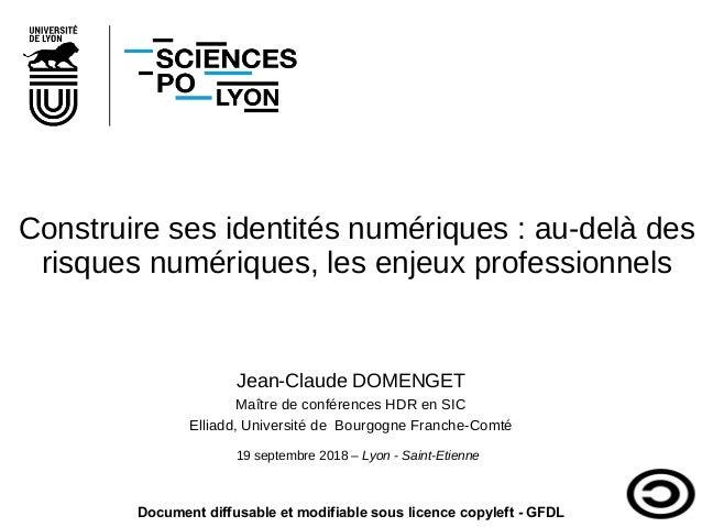 Construire ses identités numériques: au-delà des risques numériques, les enjeux professionnels Jean-Claude DOMENGET Maîtr...