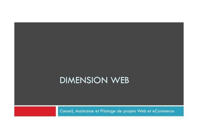 DIMENSION WEB Conseil, Assistance et Pilotage de projets Web et eCommerce