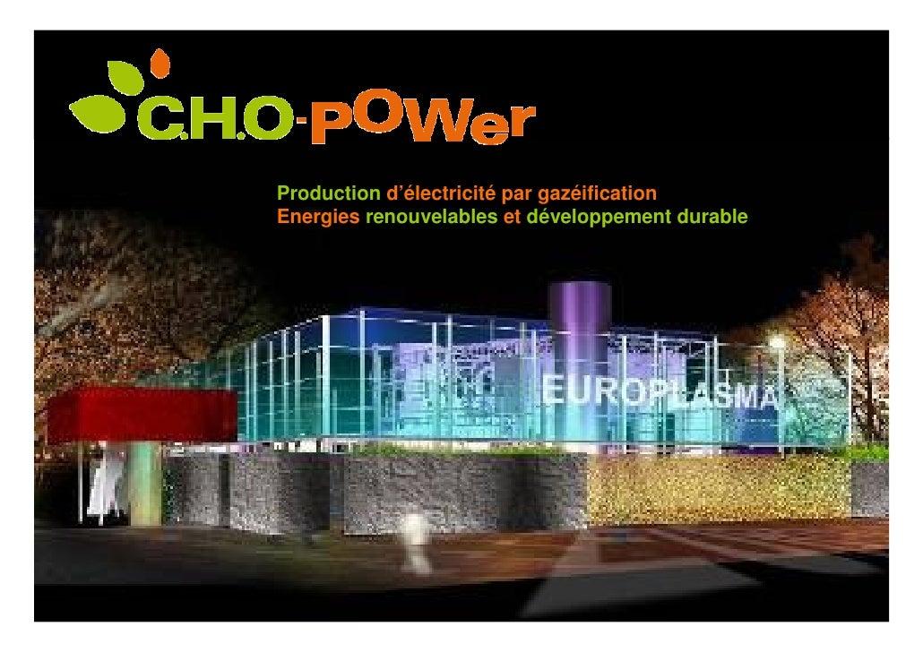 Production d'électricité par gazéification Energies renouvelables et développement durable