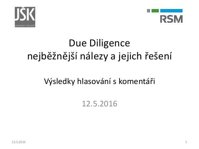 Due Diligence nejběžnější nálezy a jejich řešení Výsledky hlasování s komentáři 12.5.2016 12.5.2016 1