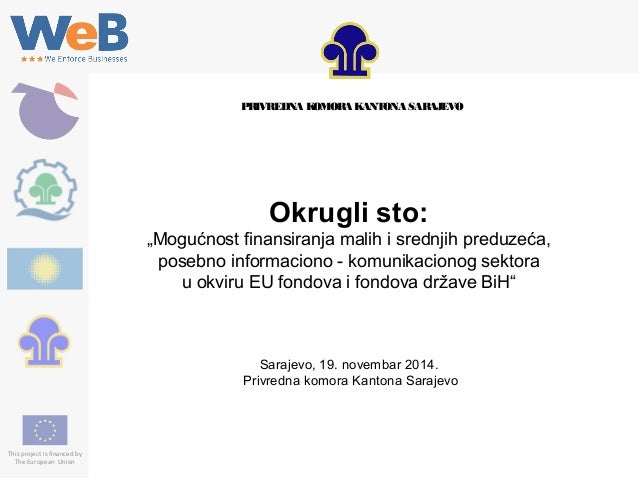 "This project is financed by The European Union Okrugli sto: ""Mogućnost finansiranja malih i srednjih preduzeća, posebno in..."