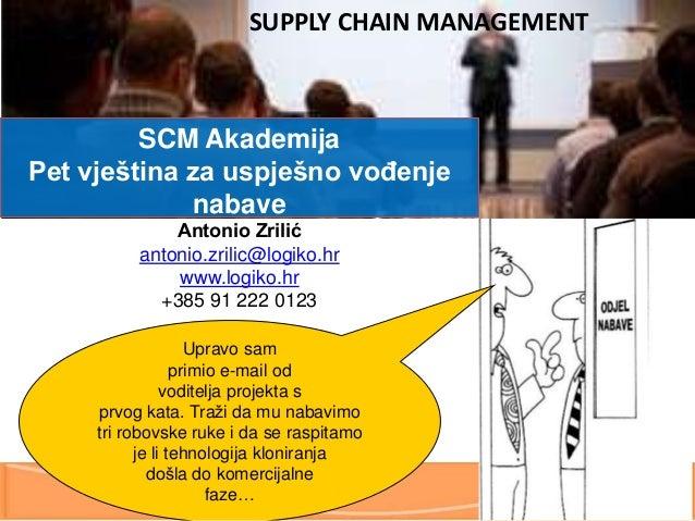 SUPPLY CHAIN MANAGEMENT  SCM Akademija Pet vještina za uspješno vođenje nabave Antonio Zrilić antonio.zrilic@logiko.hr www...