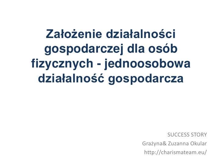 Założenie działalności   gospodarczej dla osóbfizycznych - jednoosobowa  działalność gospodarcza                          ...