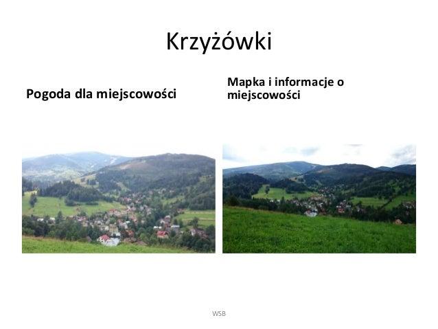 Krzyżówki Pogoda dla miejscowości Mapka i informacje o miejscowości WSB