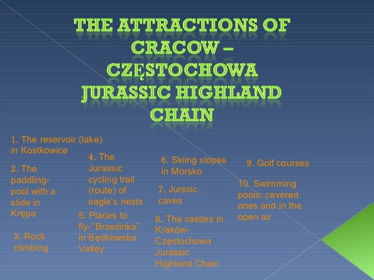 1.  The reservoir (lake) in Kostkowice 2.  The paddling-pool with a slide in Krępa 3.  Rock climbing 4.  The Jurassic cycl...