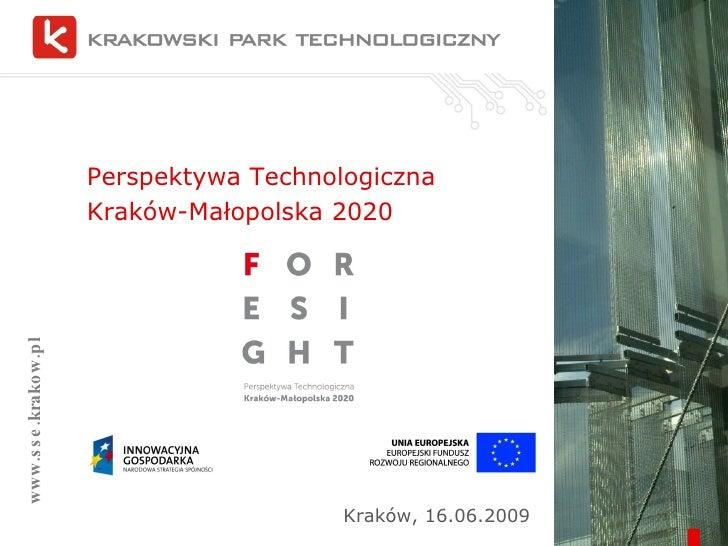 Perspektywa Technologiczna  Kraków-Małopolska 2020 www.sse.krakow.pl Kraków, 16.06.2009