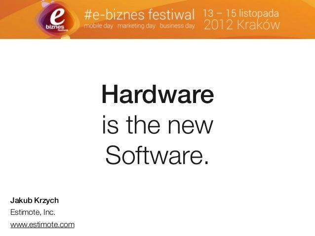 Hardware is the new Software. Jakub Krzych Estimote, Inc. www.estimote.com