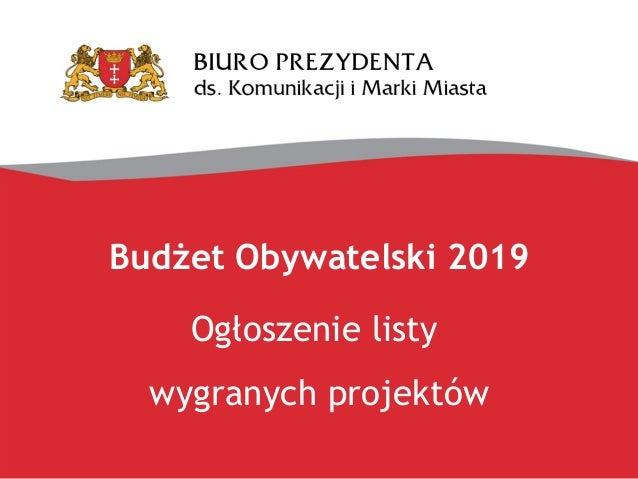 Budżet Obywatelski 2019 Ogłoszenie listy wygranych projektów