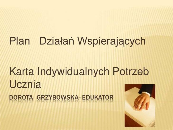Plan Działań WspierającychKarta Indywidualnych PotrzebUczniaDOROTA GRZYBOWSKA- EDUKATOR