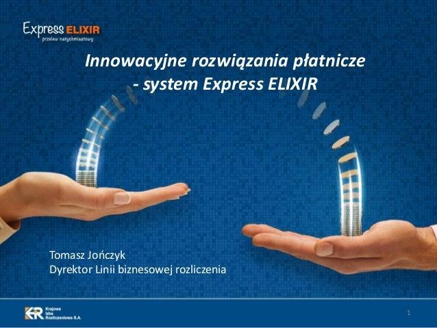 Tomasz JończykDyrektor Linii biznesowej rozliczenia1Innowacyjne rozwiązania płatnicze- system Express ELIXIR