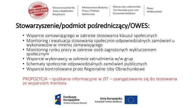 Stowarzyszenie/podmiot pośredniczący/OWES: • Wsparcie zamawiającego w zakresie stosowania klauzul społecznych • Monitoring...