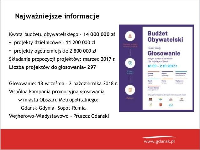 Prezentacja wyników Budżetu Obywatelskiego 2018 w Gdańsku Slide 2