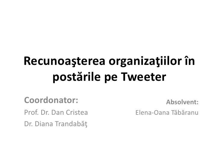 Recunoaşterea organizaţiilor în    postările pe TweeterCoordonator:                     Absolvent:Prof. Dr. Dan Cristea   ...
