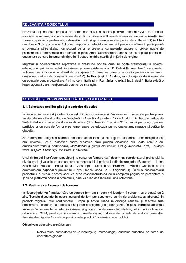 RELEVANȚA PROIECTULUI _  Prezenta acțiune este propusă de actori non-statali ai societății civile, precum ONG-uri, fundați...