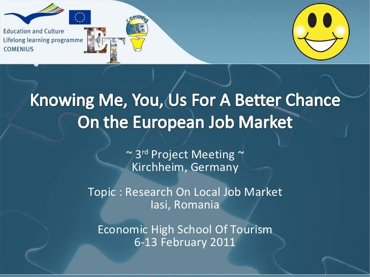 ~ 3 rd  Project Meeting ~ Kirchheim, Germany Topic : Research On Local Job Market Iasi, Romania Economic High School Of To...