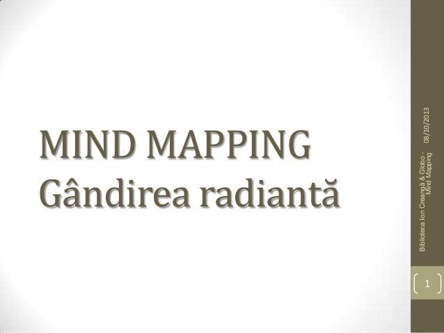 MIND MAPPING Gândirea radiantă 08/10/2013 BibliotecaIonCreangă&Globo- MindMapping 1
