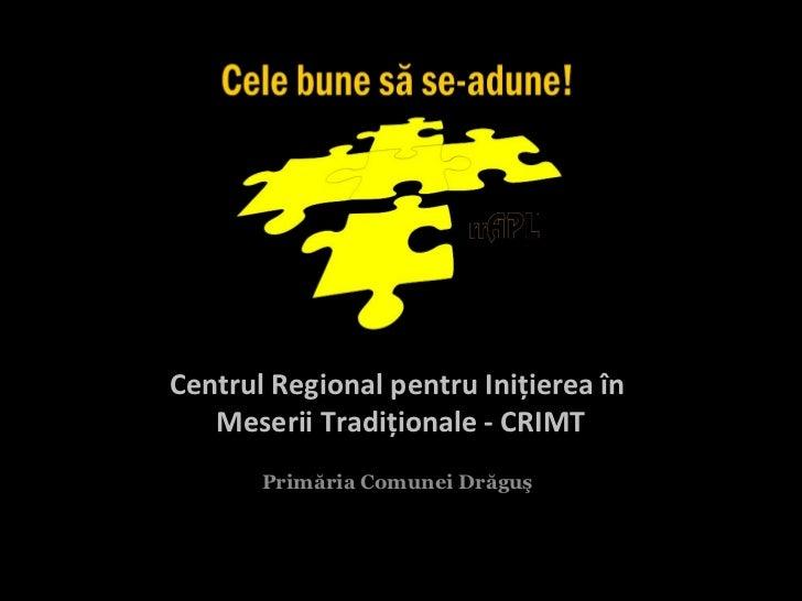 Centrul Regional pentru Iniţierea în   Meserii Tradiţionale - CRIMT       Primăria Comunei Drăguş