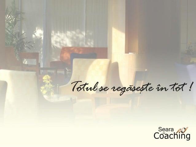 ConceptSerile de Coaching reprezintă o serie desesiuni publice de coaching organizatepentru toţi cei care doresc să lucrez...