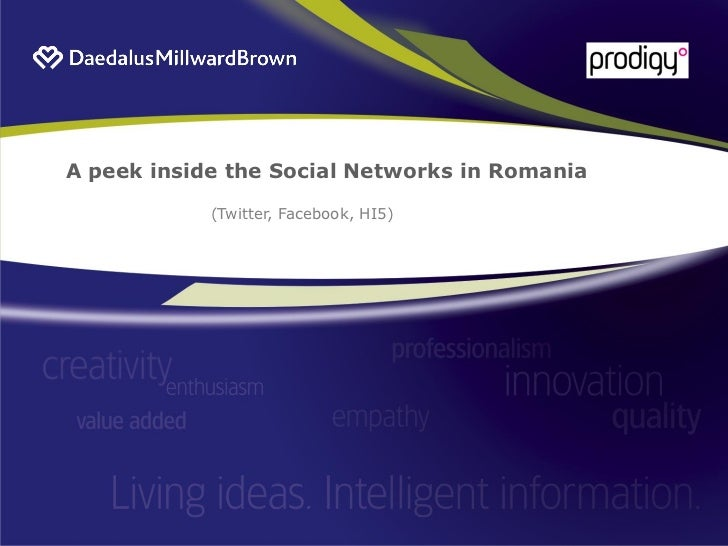 A peek inside the Social Networks in Romania              (Twitter, Facebook, HI5)