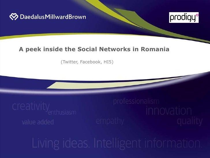 A peek inside the Social Networks in Romania (Twitter, Facebook, HI5)