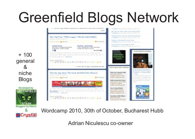 Greenfield Blogs Network Wordcamp 2010, 30th of October, Bucharest Hubb + 100 general & niche Blogs Adrian Niculescu co-ow...