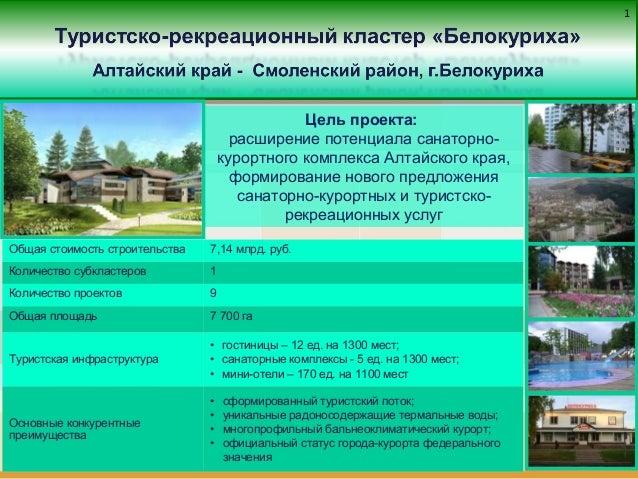 11 Цель проекта: расширение потенциала санаторно- курортного комплекса Алтайского края, формирование нового предложения са...