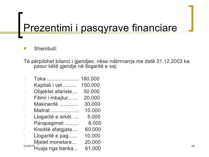 Prezentimi i pasqyrave financiare <ul><li>Shembull: </li></ul><ul><li>Të përpilohet bilanci i gjendjes, nëse ndërmarrja me...