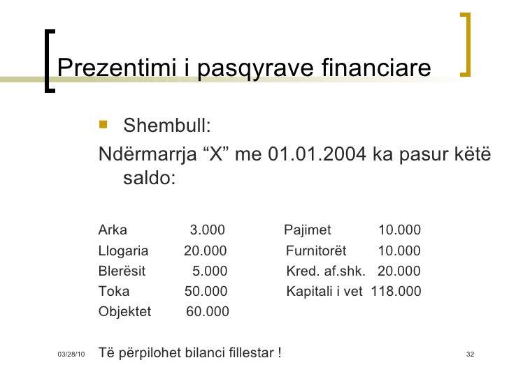 """Prezentimi i pasqyrave financiare <ul><li>Shembull: </li></ul><ul><li>Ndërmarrja """"X"""" me 01.01.200 4  ka pasur këtë saldo: ..."""