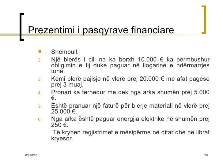Prezentimi i pasqyrave financiare <ul><li>Shembull: </li></ul><ul><li>Një blerës i cili na ka borxh 10.000  € ka përmbus...