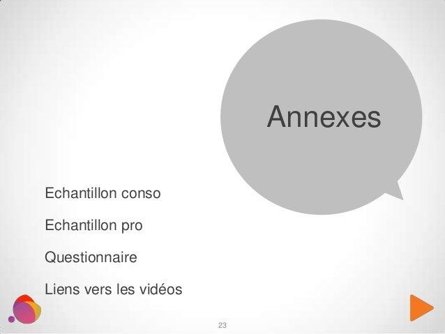 Echantillon conso Echantillon pro Questionnaire Liens vers les vidéos Annexes 23