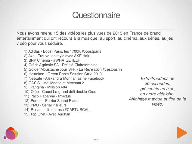 27 Nous avons retenu 15 des vidéos les plus vues de 2013 en France de brand entertainment qui ont recours à la musique, au...