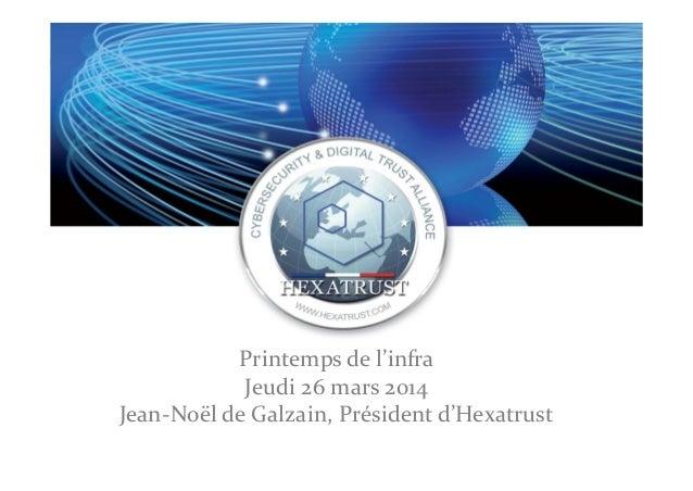 Printemps de l'infra Jeudi 26 mars 2014 Jean-Noël de Galzain, Président d'Hexatrust