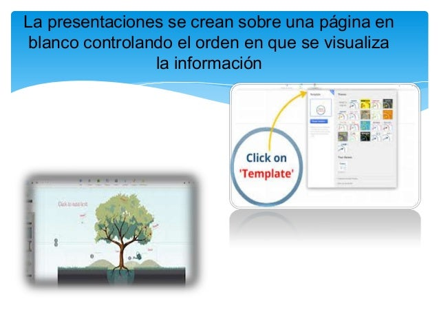 La presentaciones se crean sobre una página enblanco controlando el orden en que se visualizala información