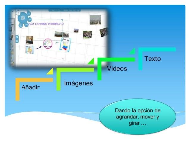 Dando la opción de agrandar, mover y girar … Añadir Imágenes Videos Texto