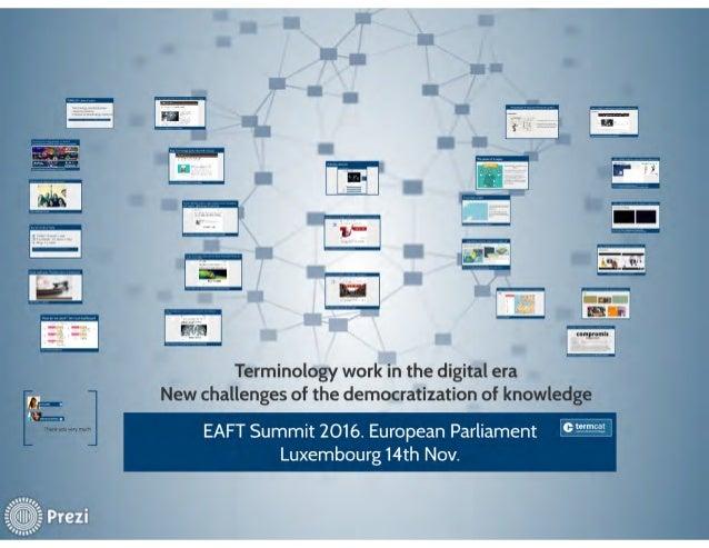 Terminology work in the digital era. New challenges of the democratization of knowledge. Sandra Cuadrado, Maria Cortés