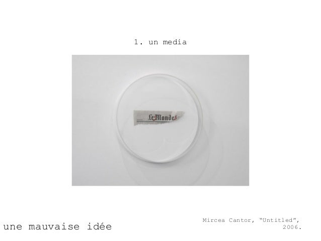 "1. un media                                  Mircea Cantor, ""Untitled"",une mauvaise idée                                  ..."