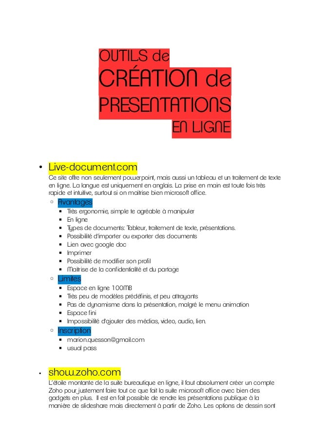 OUTILS de                       CRÉATION de                       PRESENTATIONS                                           ...