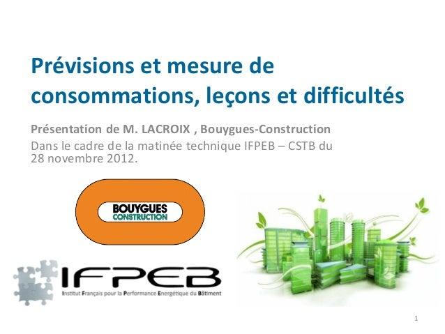 Prévisions et mesure deconsommations, leçons et difficultésPrésentation de M. LACROIX , Bouygues-ConstructionDans le cadre...
